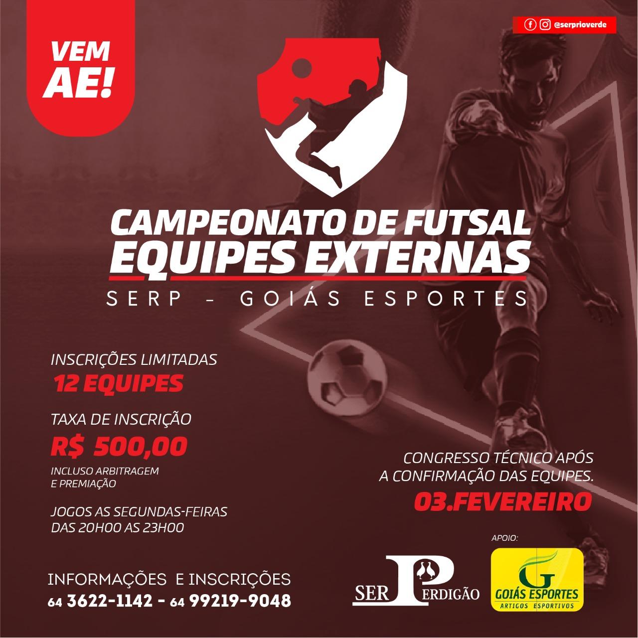 Inscrições abertas para o Campeonato de Futsal Masculino da Serp