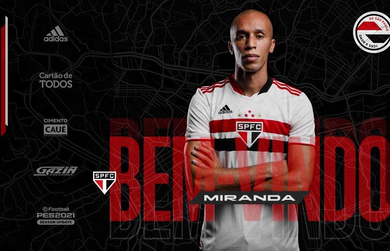 São Paulo oficializa chegada do zagueiro Miranda
